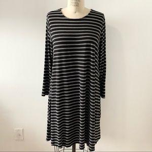 OLD NAVY Long Sleeve Black Stripe Swing Dress XL